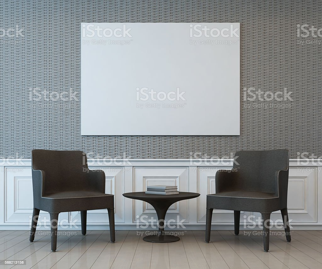 Interior with blank art frame on wall of living area stock photo