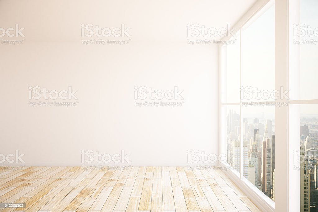 Interior with blank wall stock photo