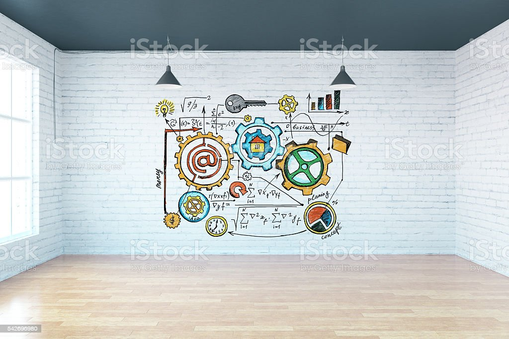 Interior with business scheme on brick wall stock photo