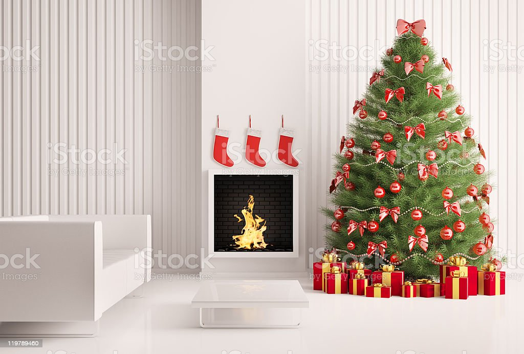 Interior with Christmas tree and fireplace 3d render royalty-free stock photo