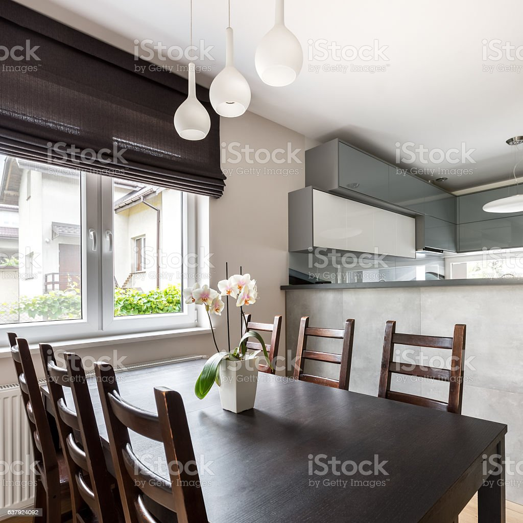 Interior with dining table stock photo