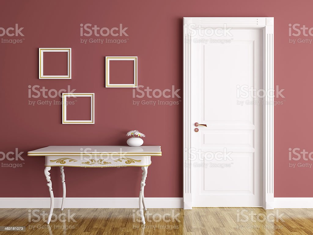 Interior with door and table stock photo
