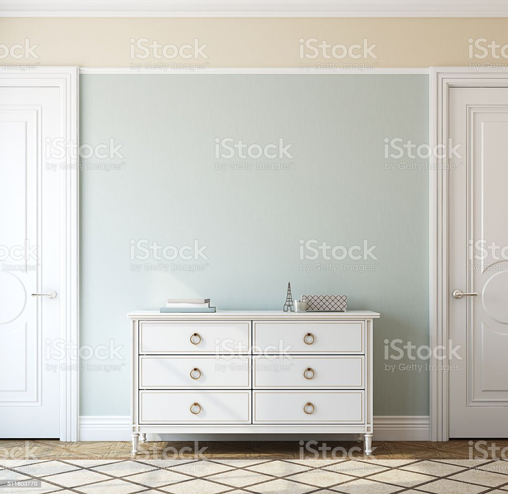 Interior with dresser. 3d rendering. stock photo
