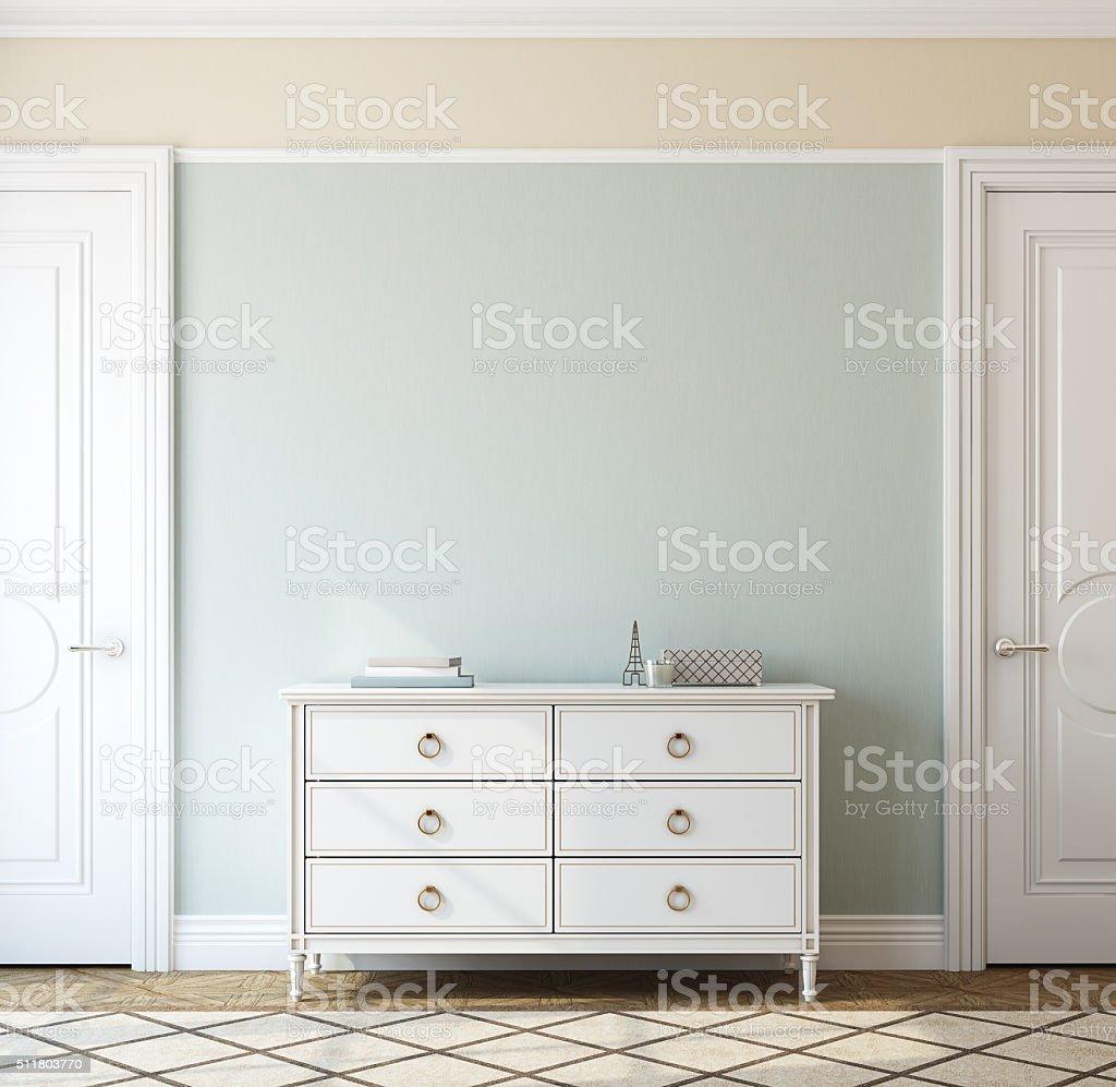 Interior with dresser. 3d rendering. stock photo