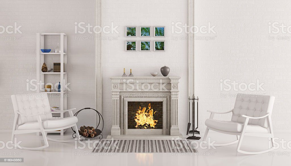 Interior with fireplace 3d render stock photo