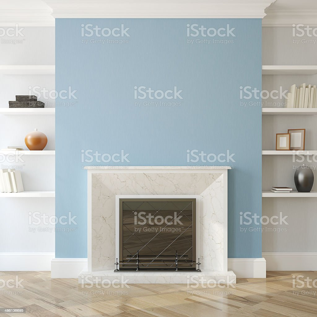 Interior with fireplace. stock photo