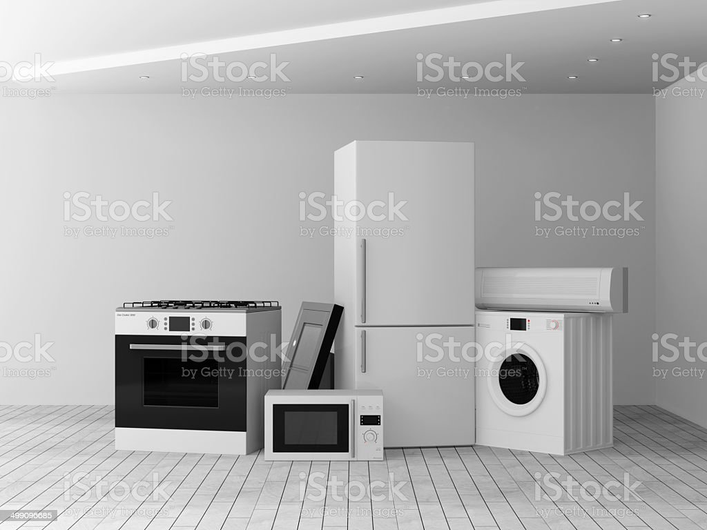 Interior with group of home appliances vector art illustration