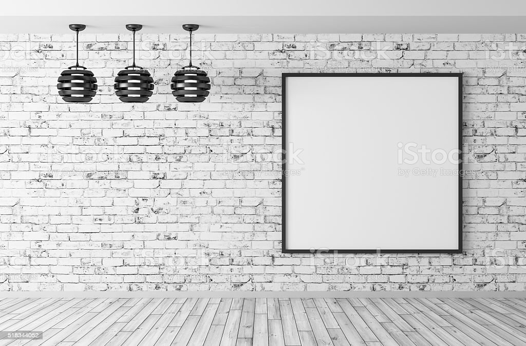 Interior with lamps and poster 3d render stock photo