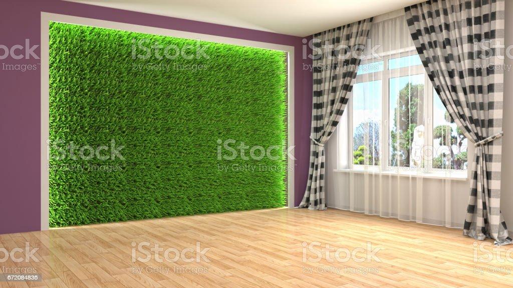 interior with large window. 3d illustration stock photo