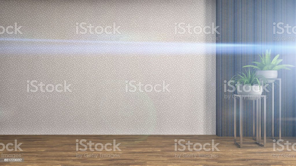 interior with plant. 3d illustration stock photo