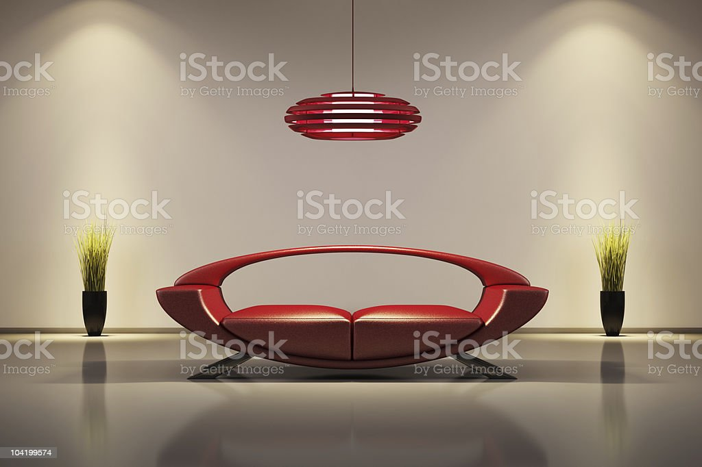 Interior with red sofa 3d royalty-free stock photo