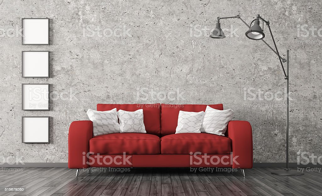 Interior with red sofa against of concrete wall 3d render stock photo
