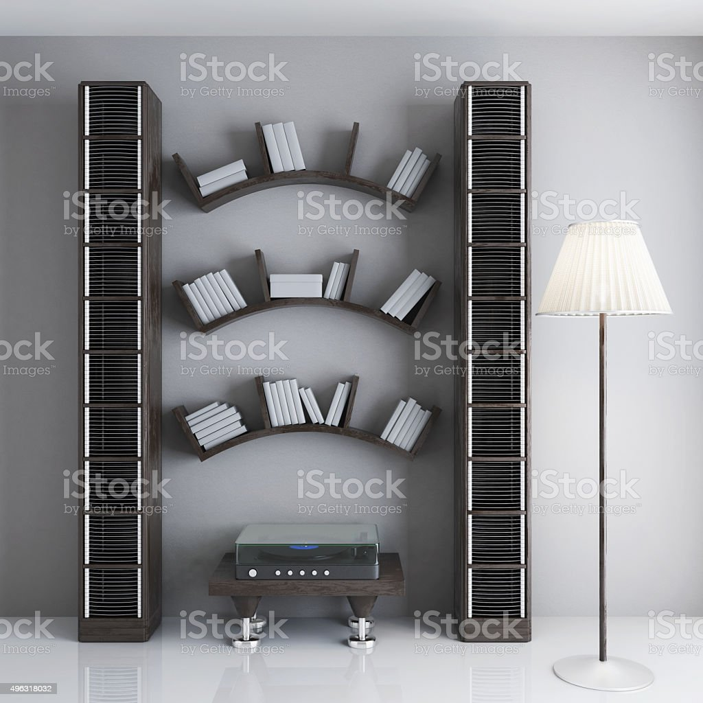 Interior with shelves for books, a table stock photo