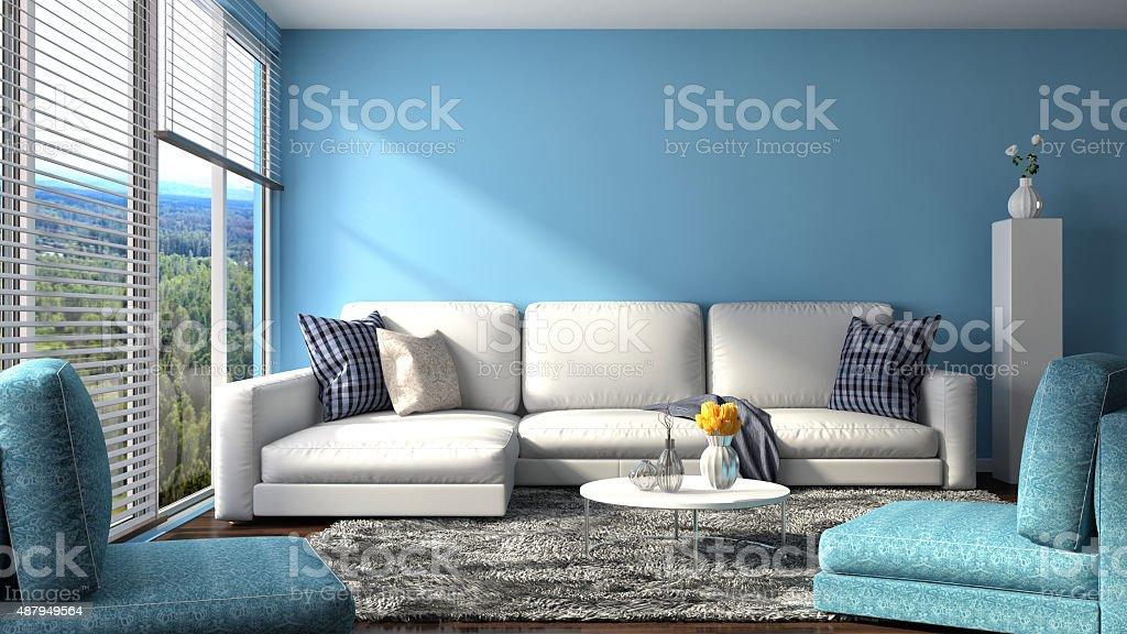 interior with sofa. 3d illustration stock photo