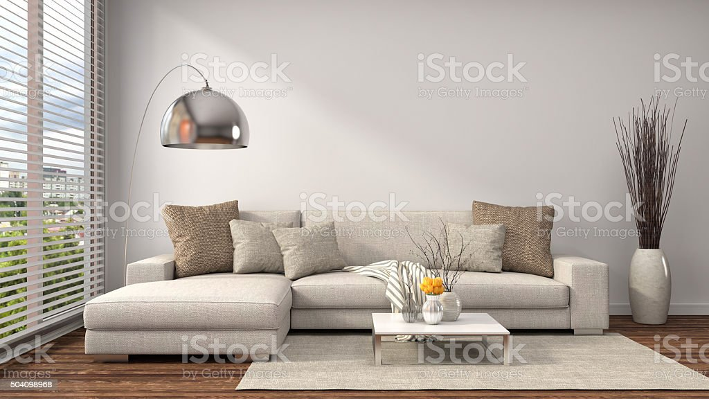 interior with sofa. 3d illustration stock photo