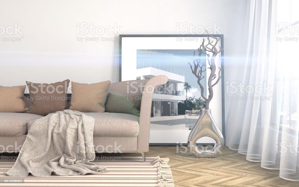 interior with sofa. 3d illustrationi stock photo