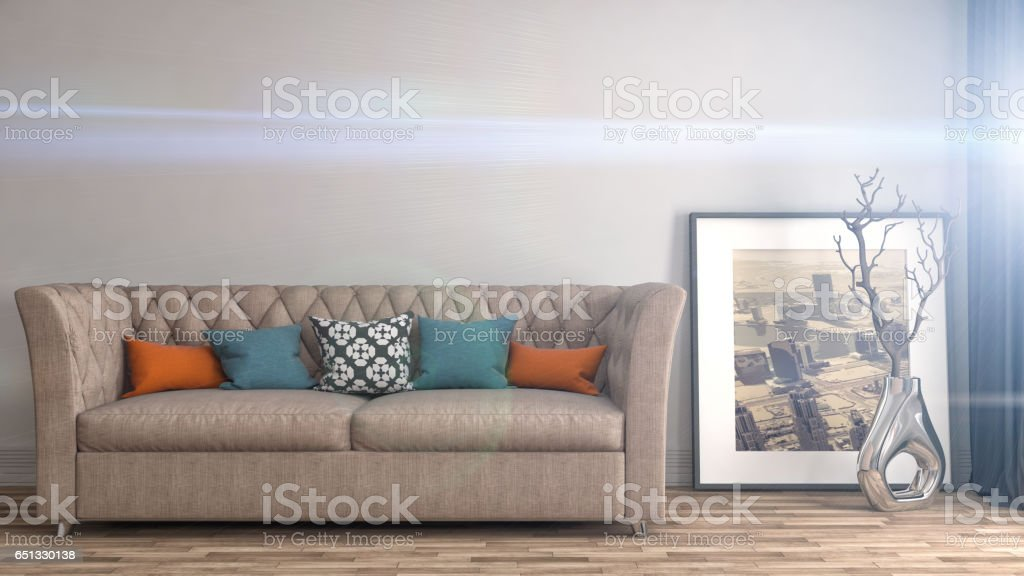 interior with sofa. 3d illustrationi stock photo