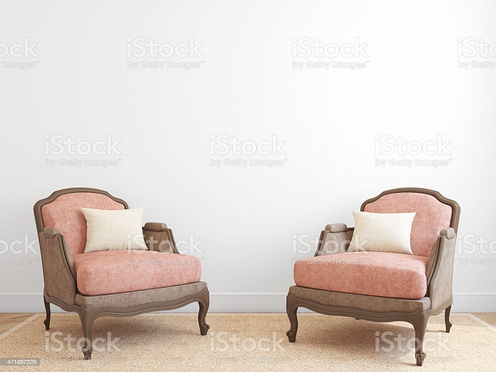 Interior with two armchairs. stock photo