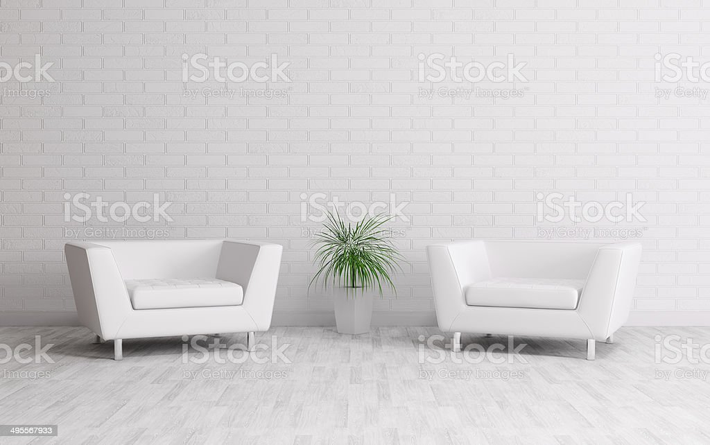 Interior with two armchairs stock photo