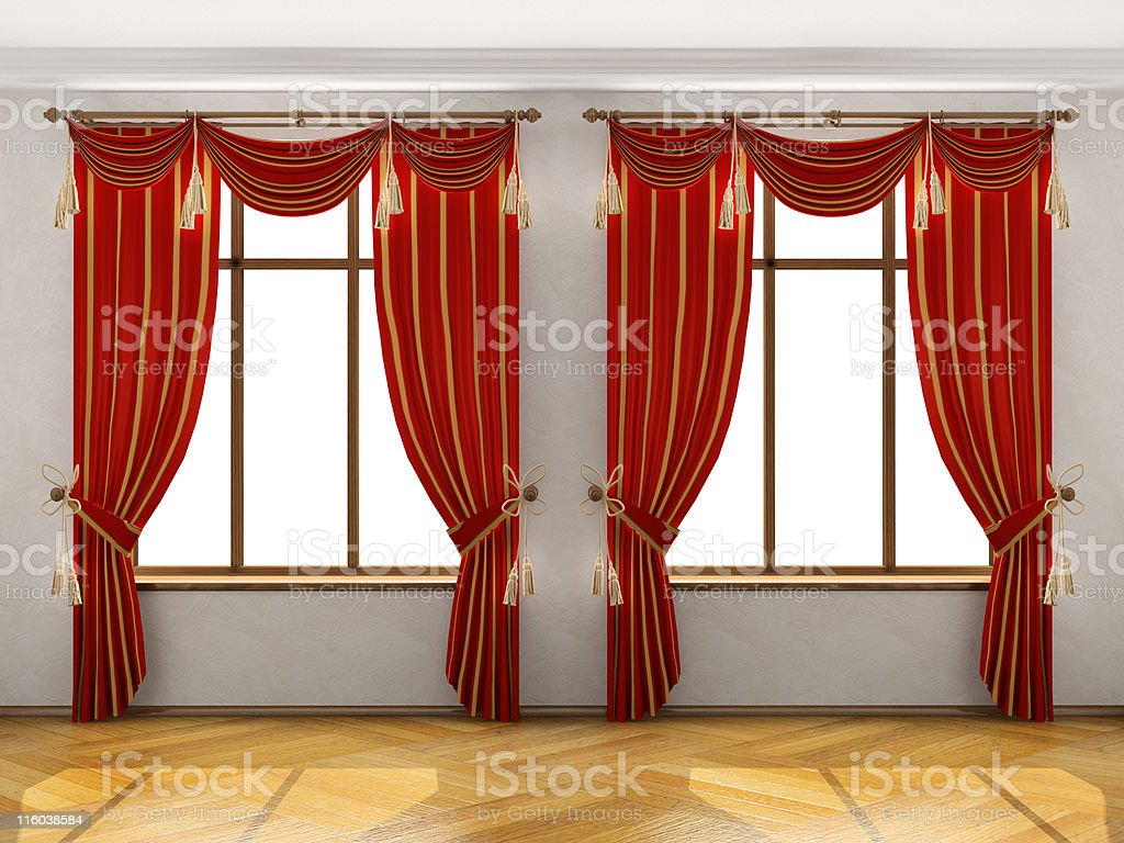 Interior with two big windows and red elegant portiere royalty-free stock photo