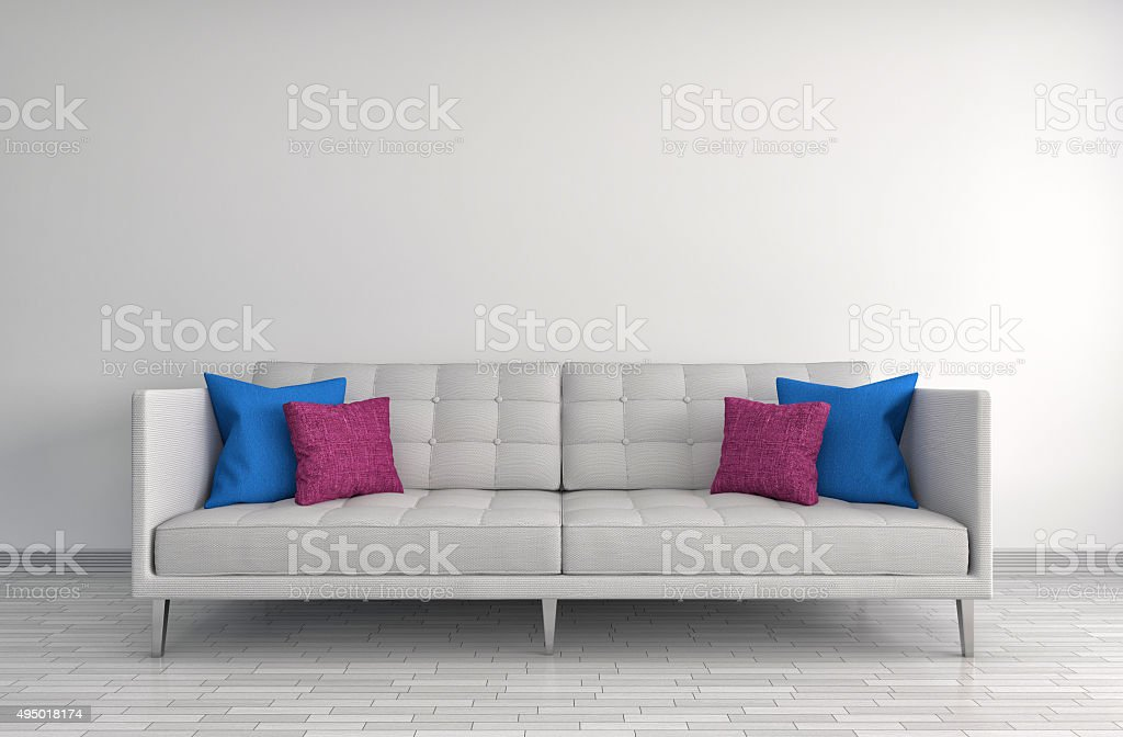 interior with white sofa. 3d illustration stock photo