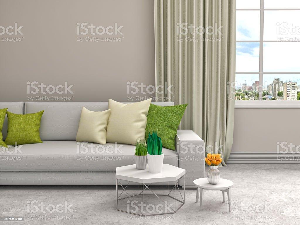 interior with white sofa. 3d illustration stock photo
