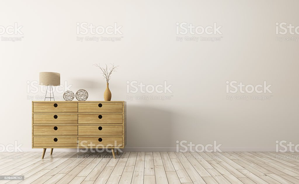Interior with wooden cabinet 3d rendering stock photo