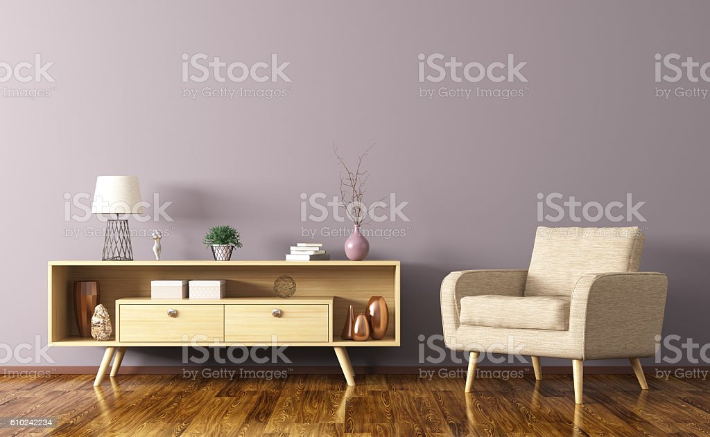 Interior with wooden cabinet and armchair 3d rendering stock photo