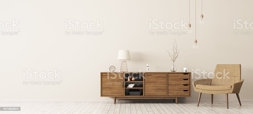 Interior with wooden cabinet and armchair 3d rendering vector art illustration