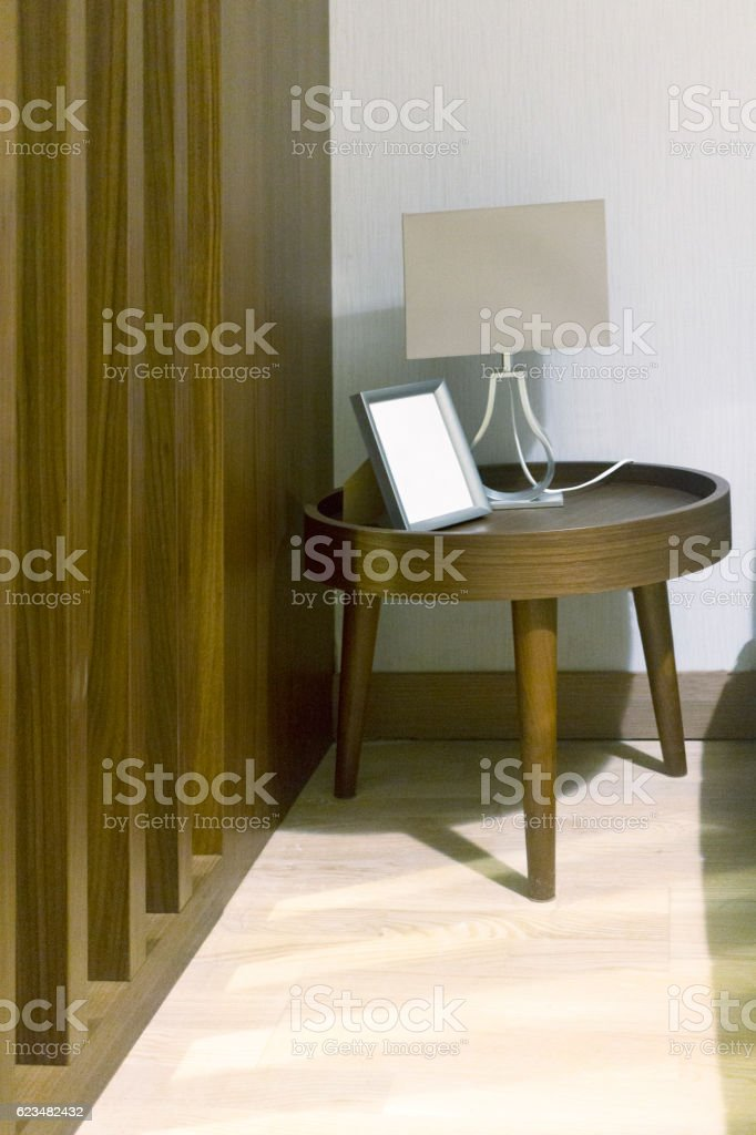Interior with wooden side table stock photo