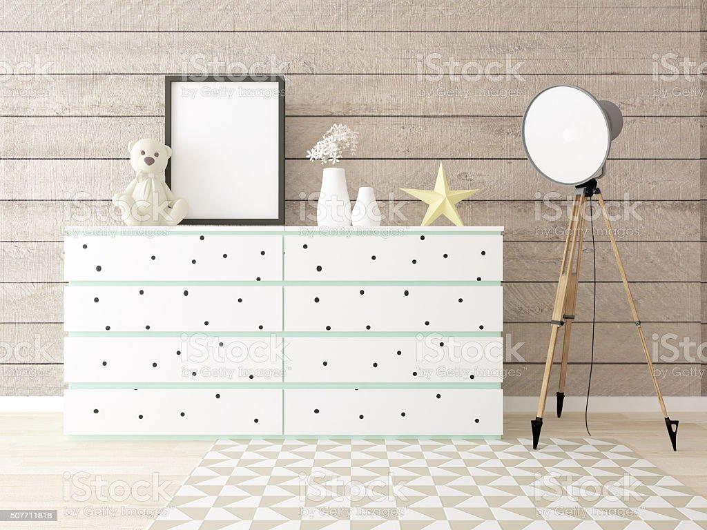 interior, wood wall, children room, poster mockup stock photo