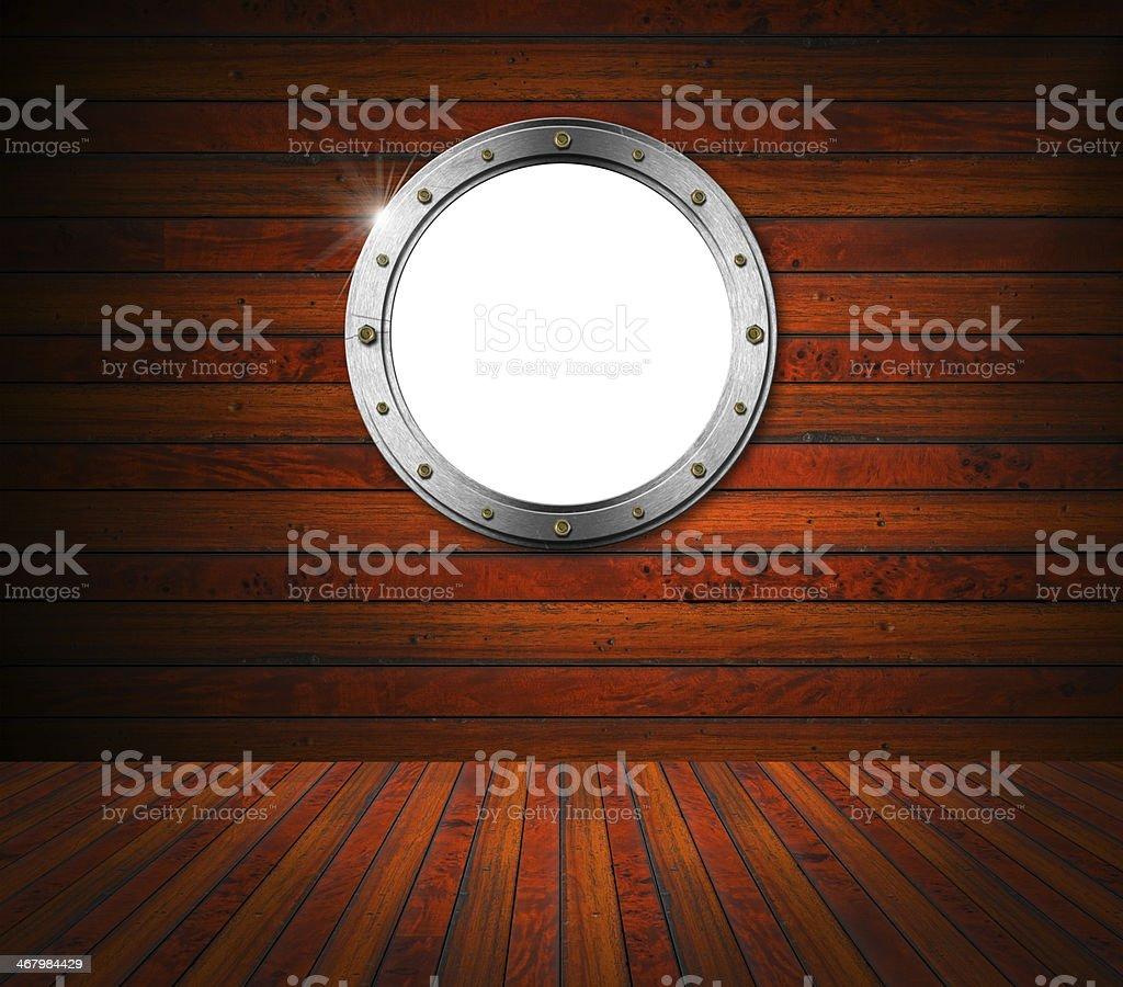 Interior Wooden Room with Metal Porthole stock photo