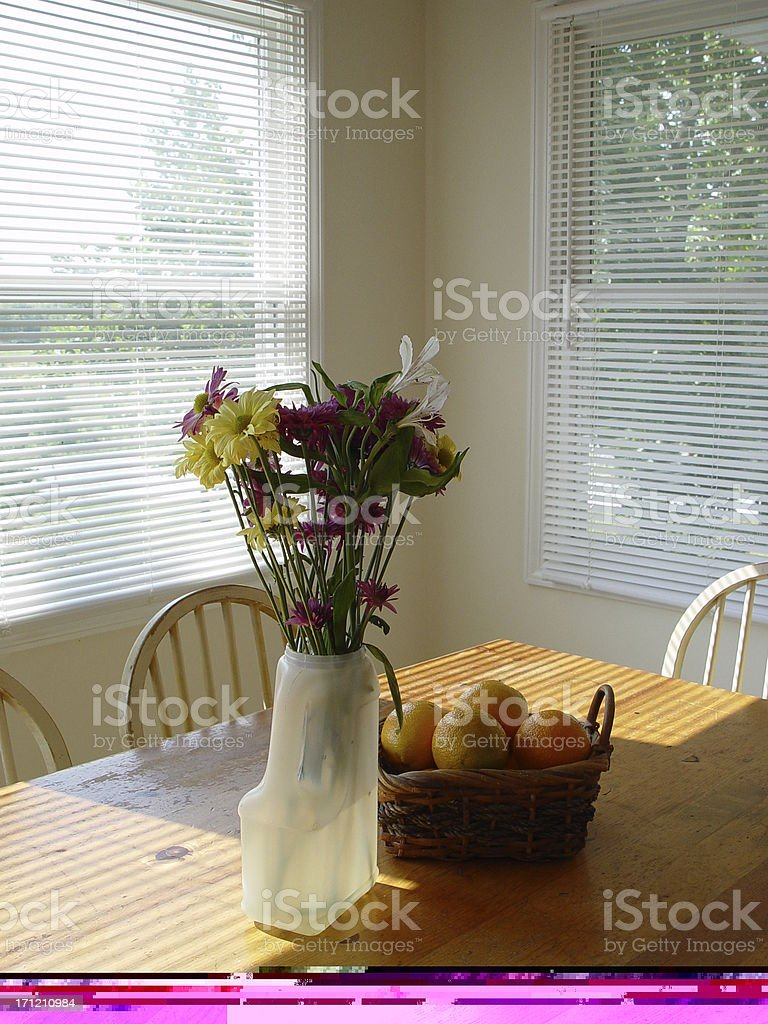 interiors - country kitchen table royalty-free stock photo