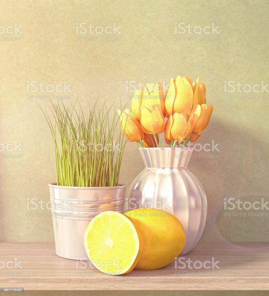 Interiors decoration. 3D Illustration stock photo