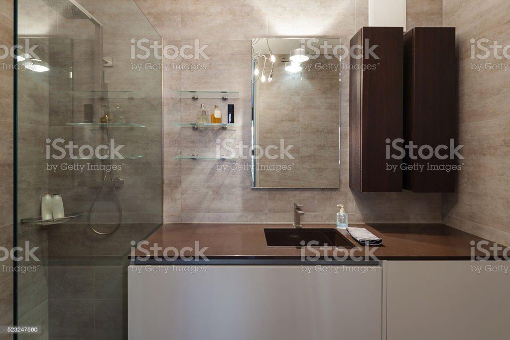 Interiors, marble bathroom stock photo
