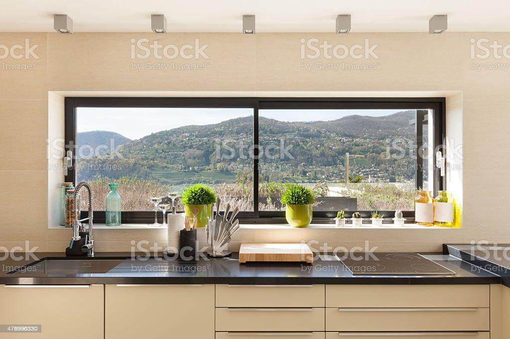 interiors, modern kitchen stock photo
