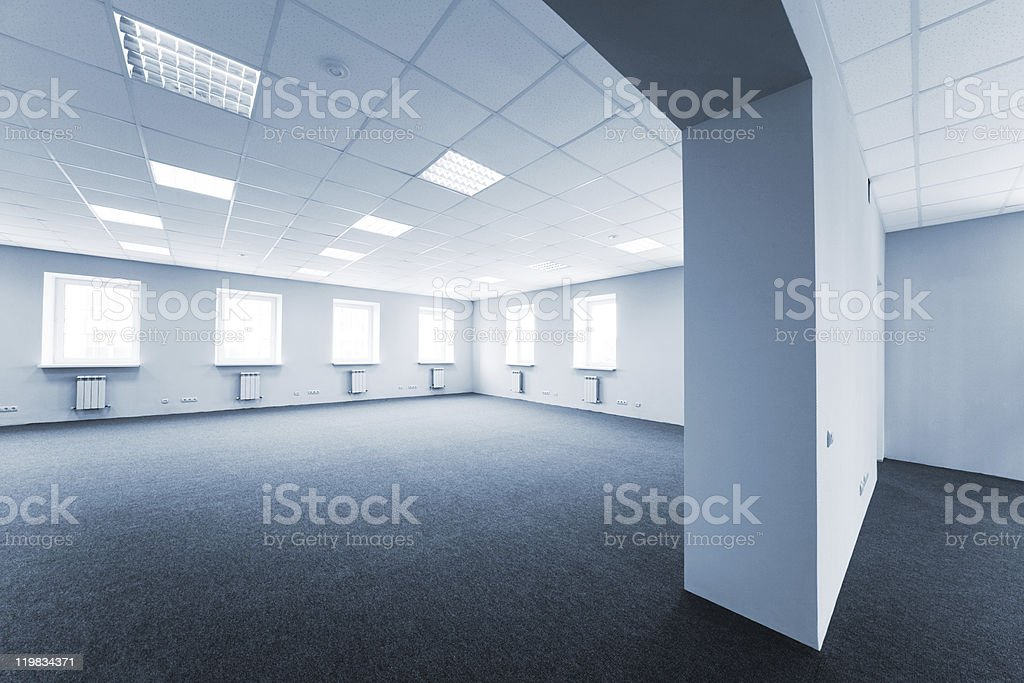 Interiors of an empty office in all white royalty-free stock photo