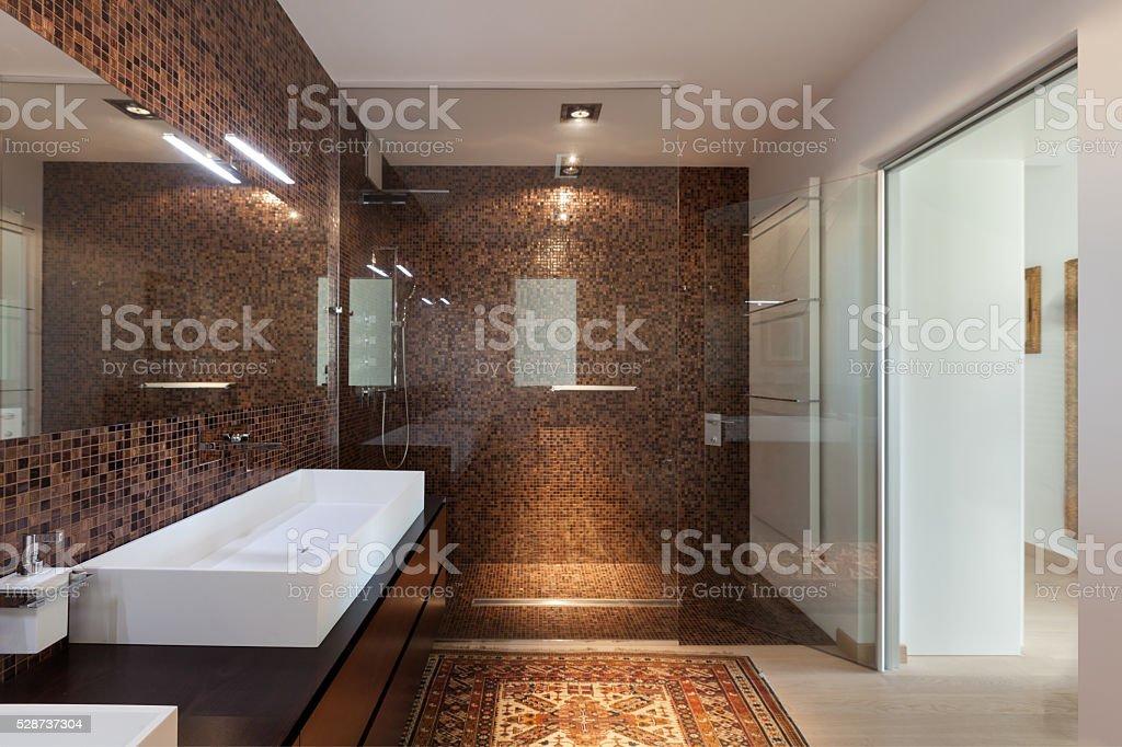 Interiors of new apartment, bathroom stock photo