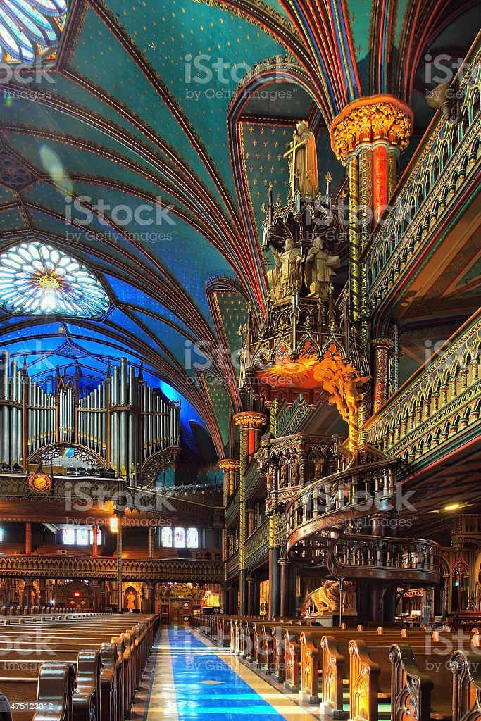 Interiors of Notre Dame Basilica, Montreal stock photo