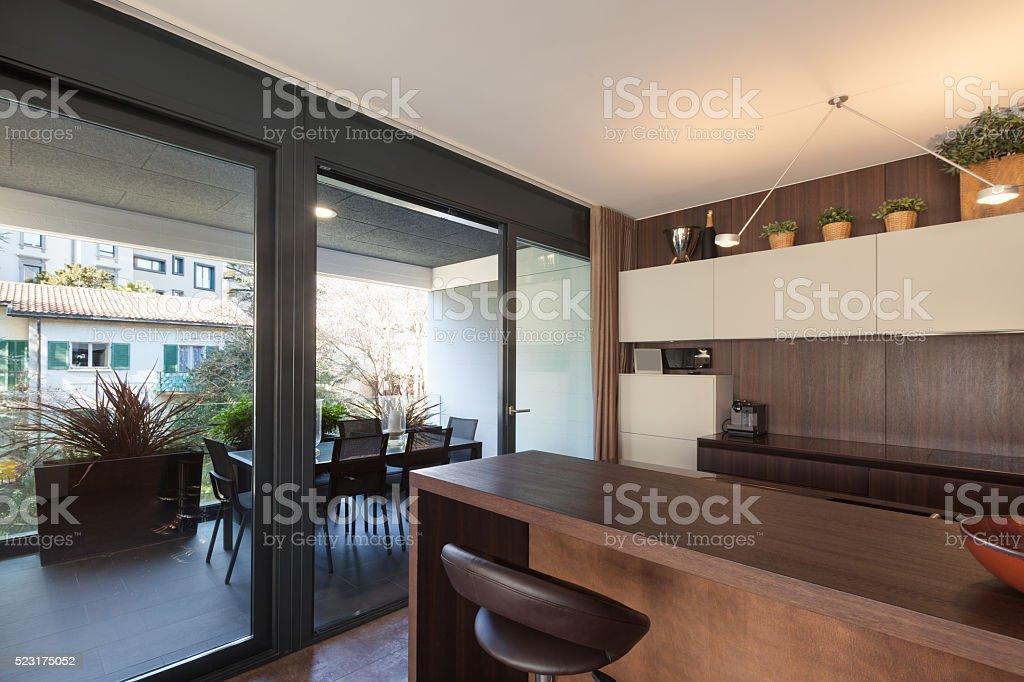 Interiors, wooden kitchen modern design stock photo