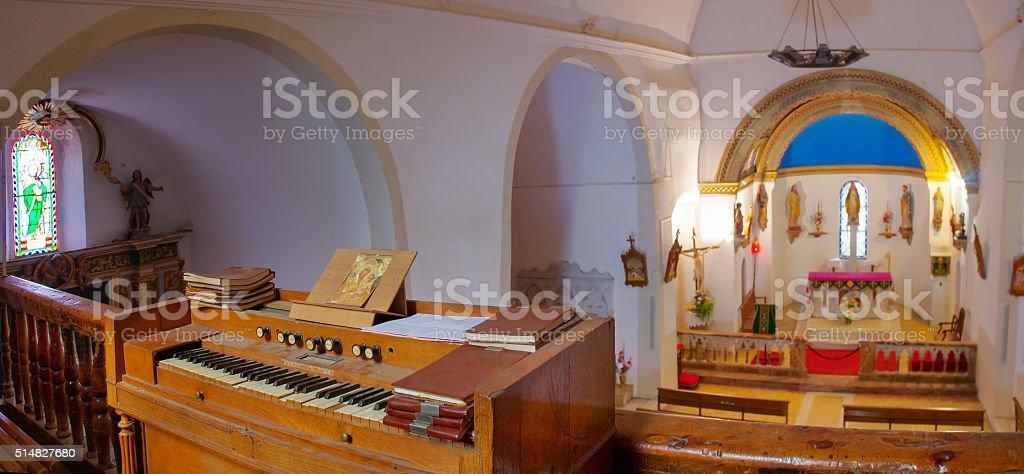 Interios of the church Santa Maria de Formiguera, France stock photo