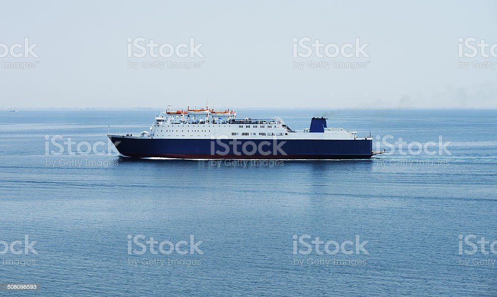 Interisland ferry in a distance stock photo