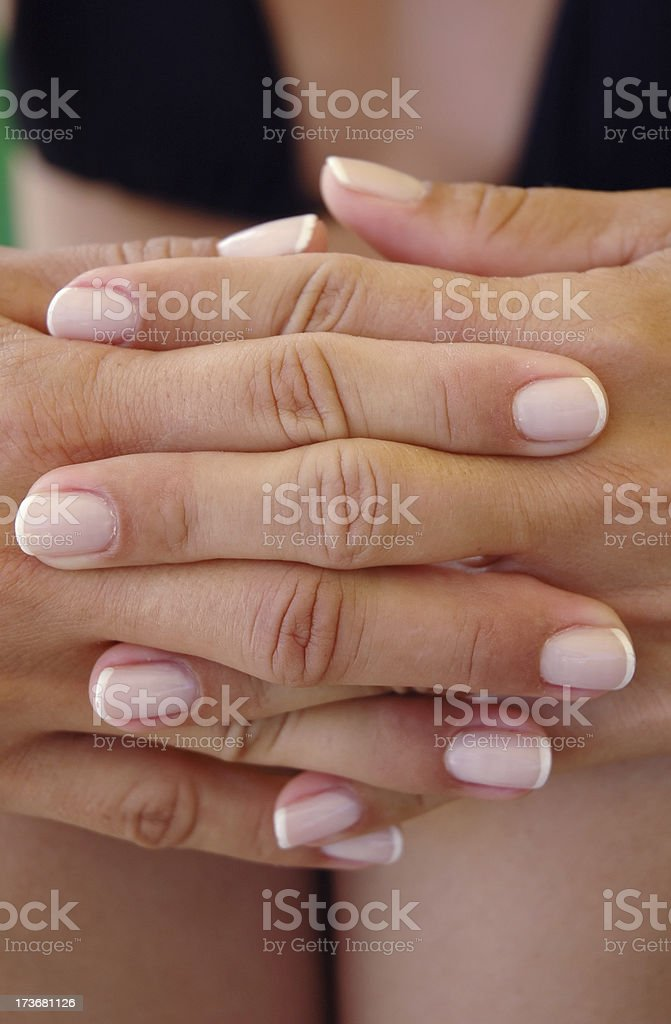 interlaced hands royalty-free stock photo