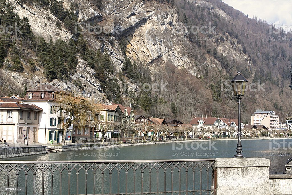 Interlaken, across the river towards  Unterseen old town, Switzerland stock photo