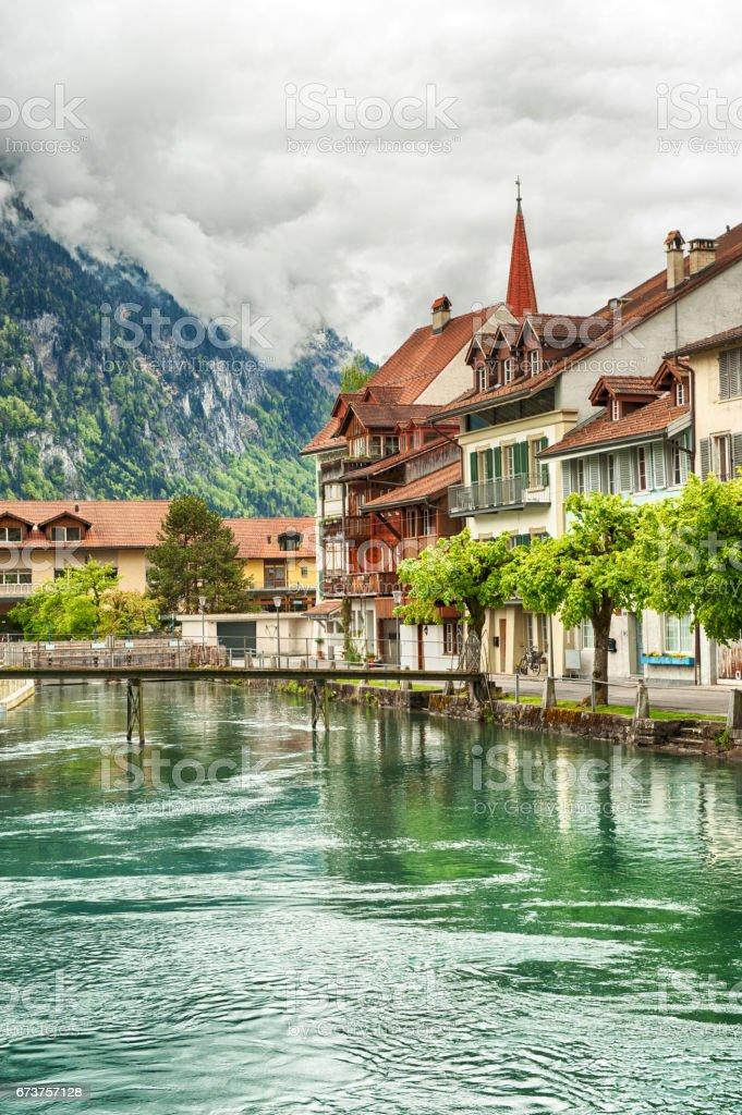 Interlaken and Aare River stock photo
