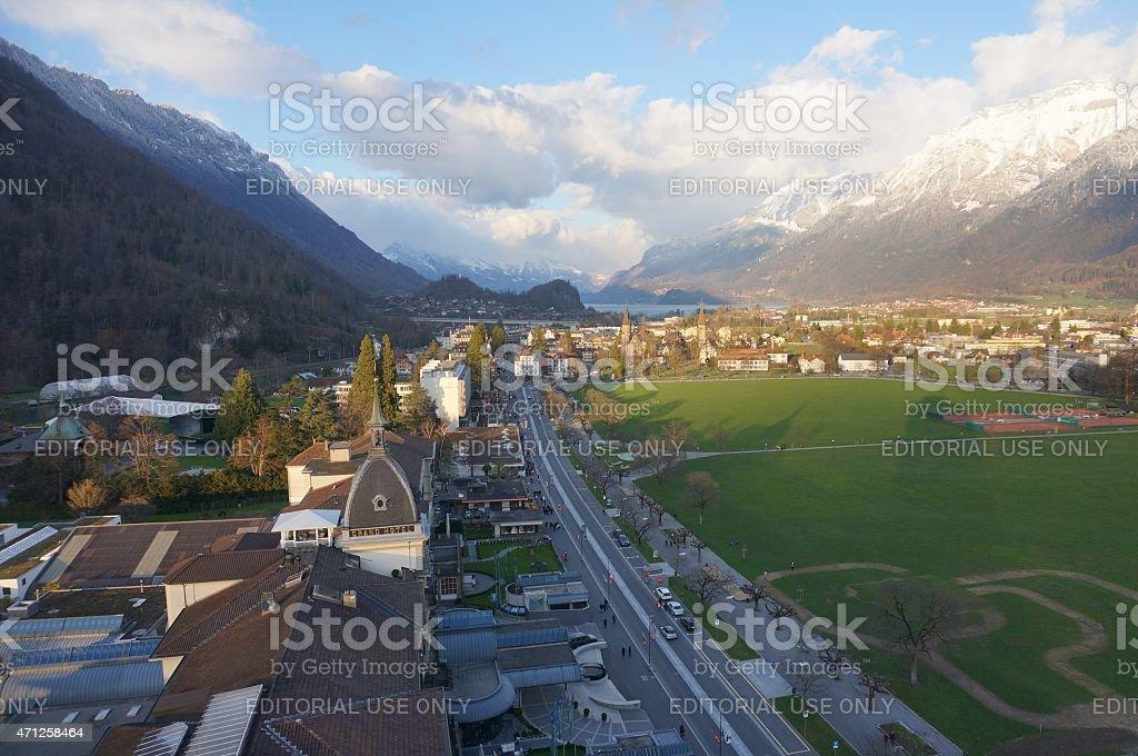 Interlaken from above stock photo