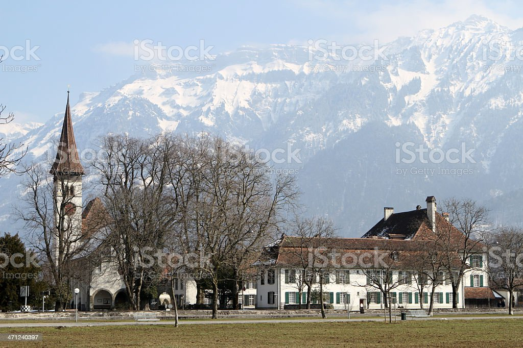 Interlaken in Switzerland with the snow covered Bernese Alps royalty-free stock photo