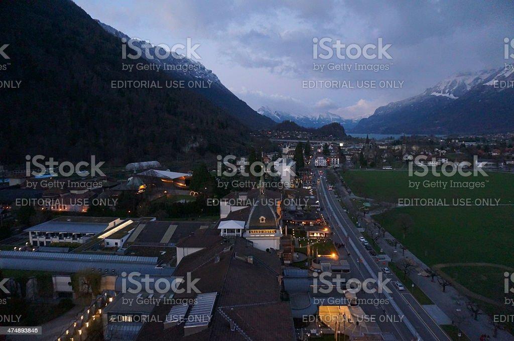 Interlaken, Switzerland, at dusk stock photo
