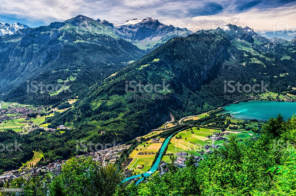 Interlaken to Thunersee, Switzerland, landscape stock photo