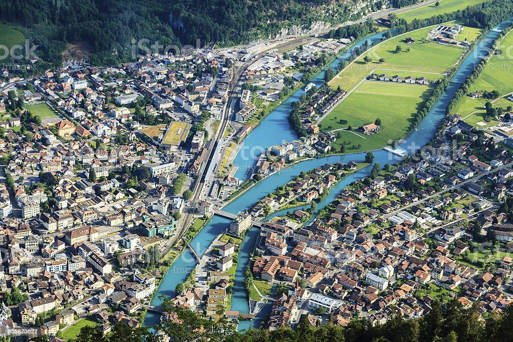 Interlaken town, Switzerland stock photo